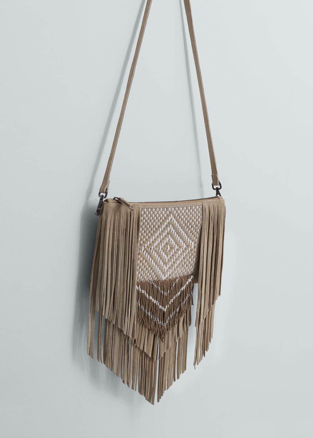 Fringe leather bag | MANGO