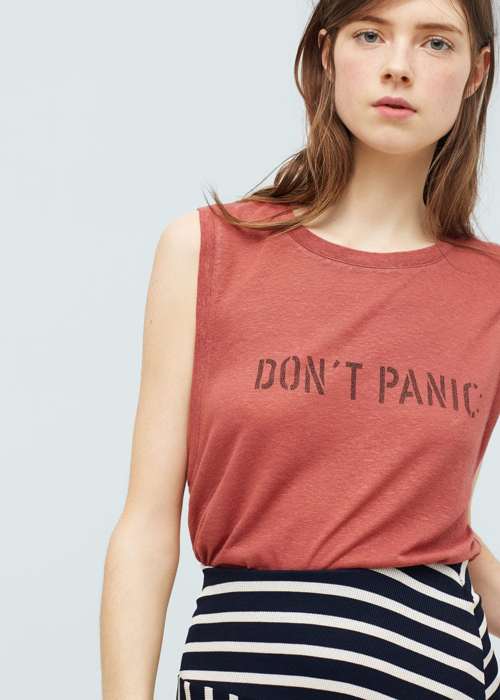 Message linen t-shirt | MANGO