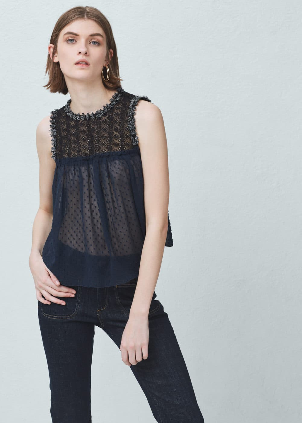 Embroidered panel top | MANGO