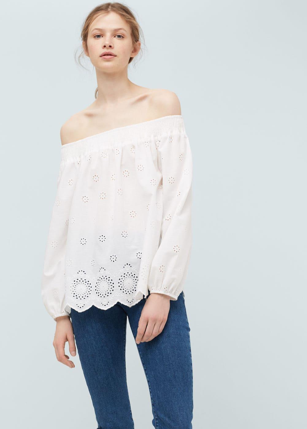 Embroidered cotton blouse | MANGO
