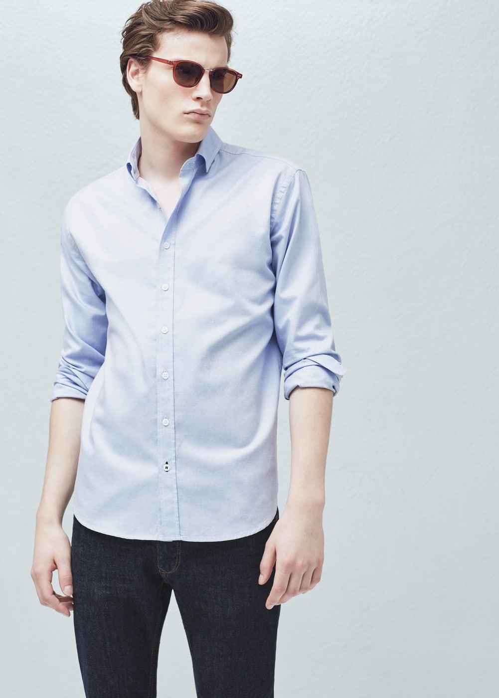 Slim-fit cotton oxford shirt | MANGO