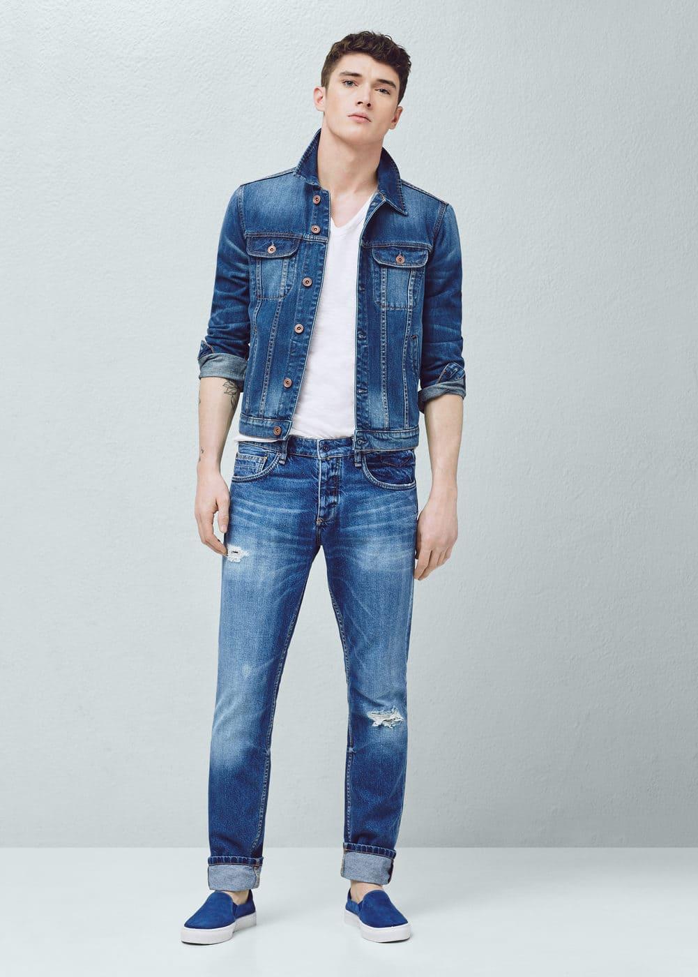 Slim-fit medium wash steve jeans | MANGO