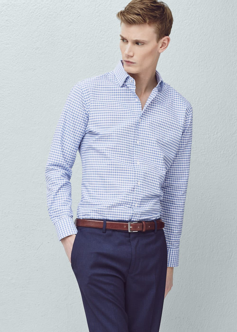 Slim-fit tailored gingham-check shirt   MANGO MAN