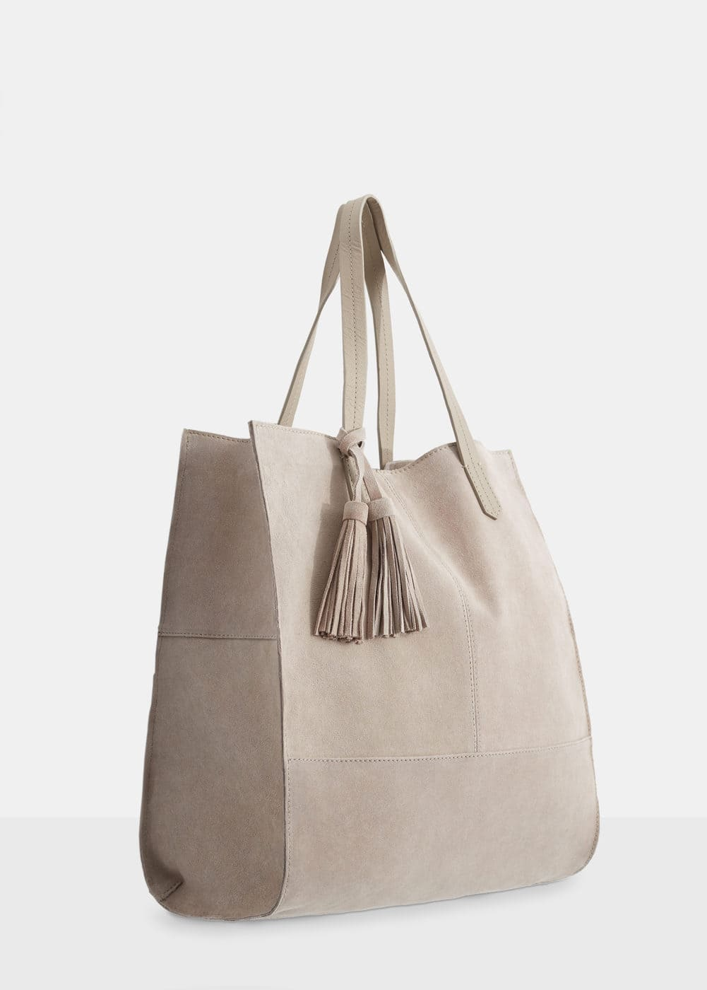 Leather shopper bag   MANGO