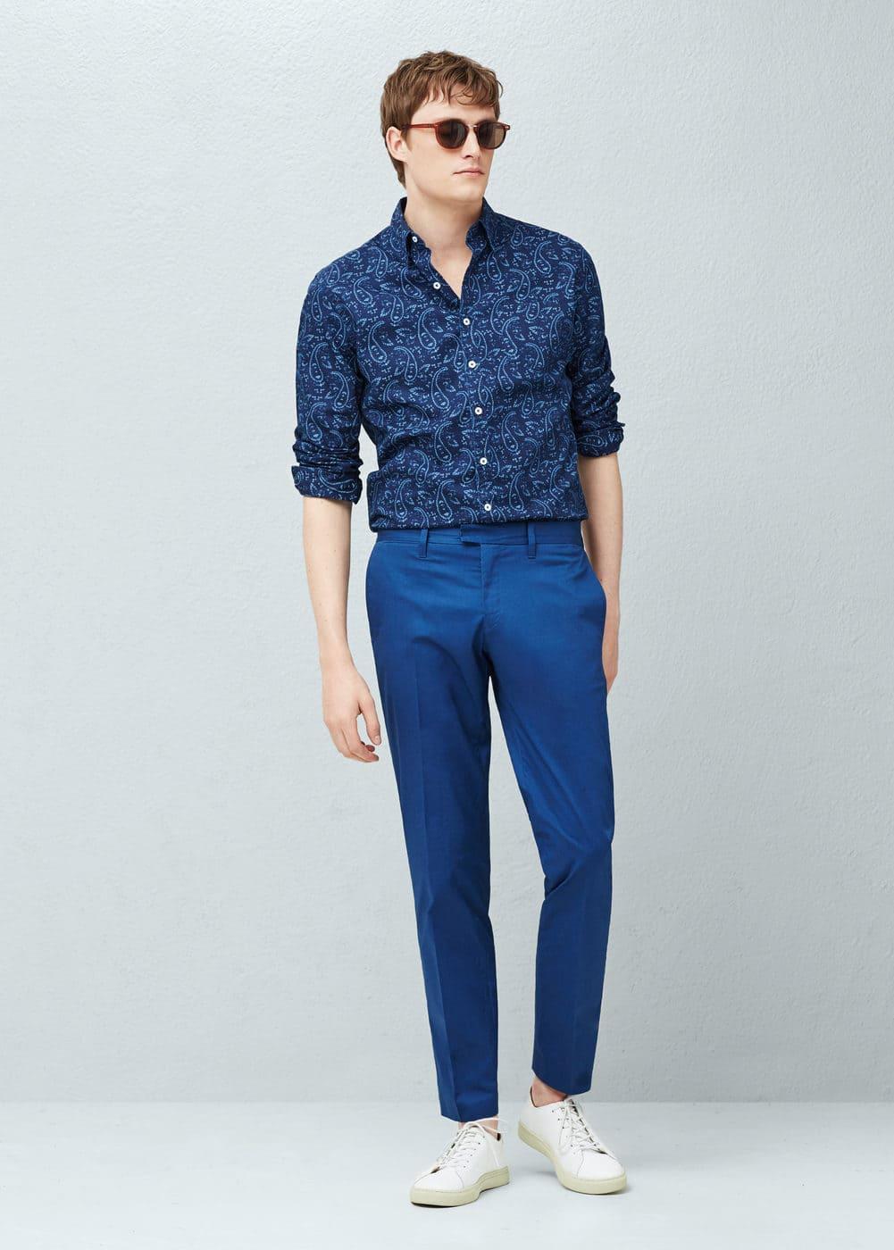 Slim-fit paisley chambray shirt | MANGO MAN