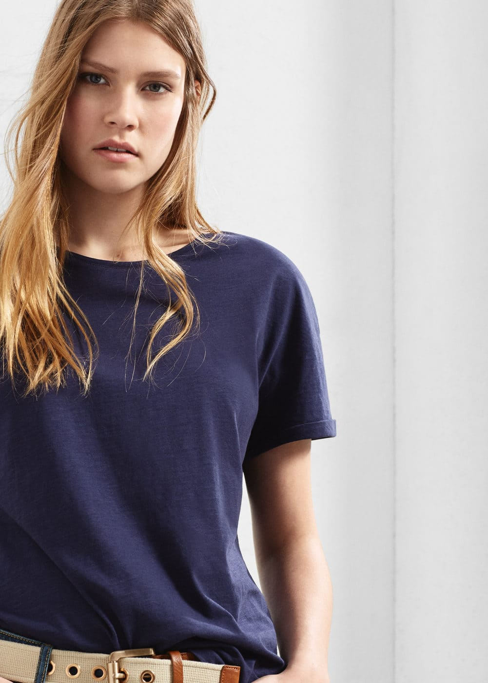 Essential cotton-blend t-shirt | MANGO