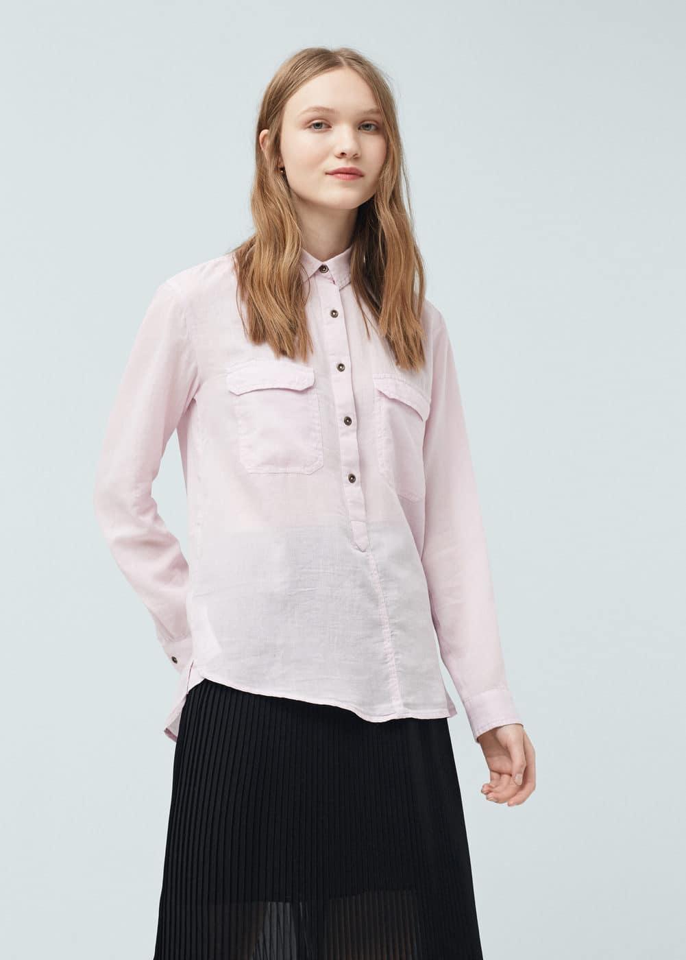 Chest-pocket cotton shirt | MANGO