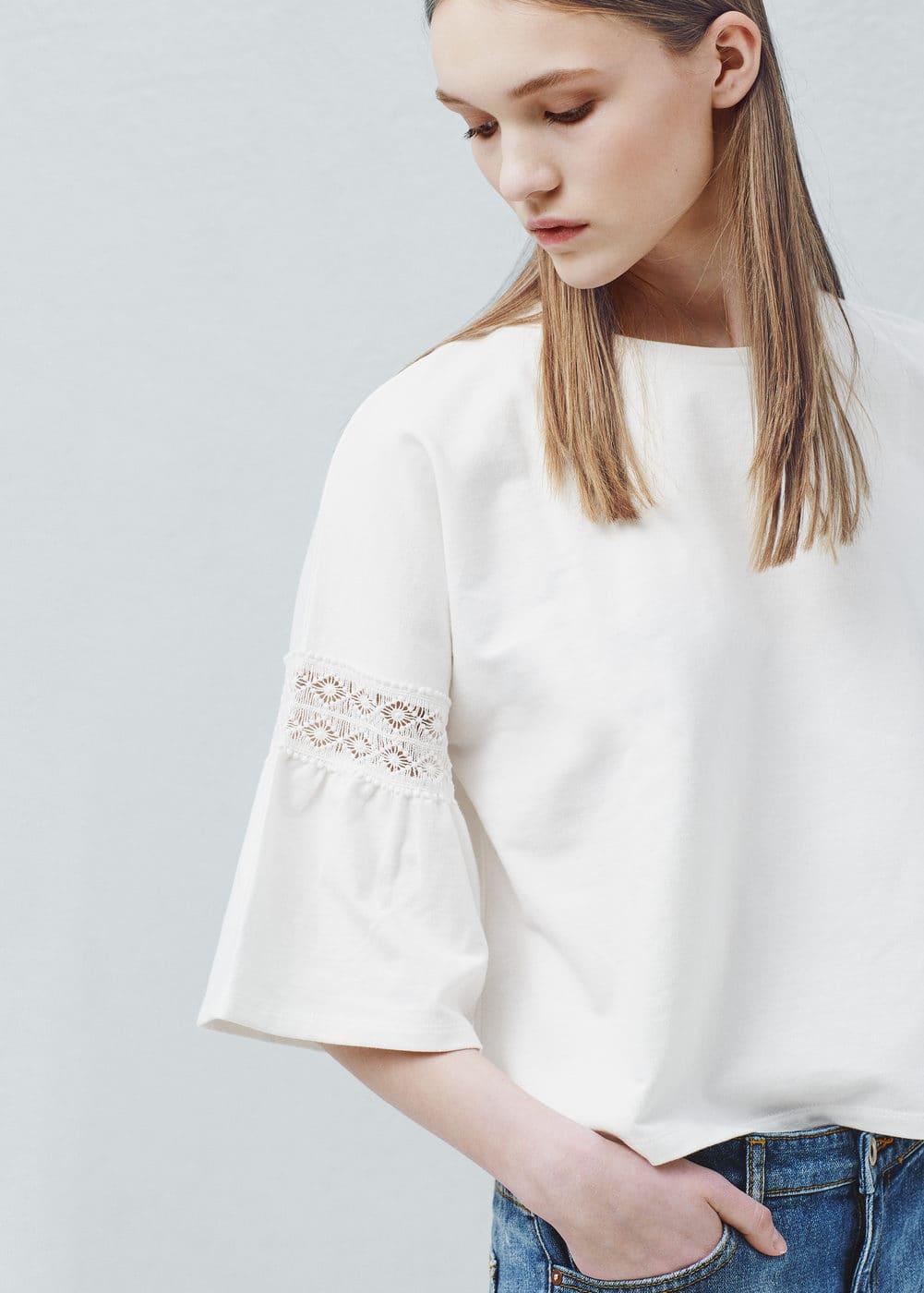 Short sleeve cotton sweatshirt | MANGO