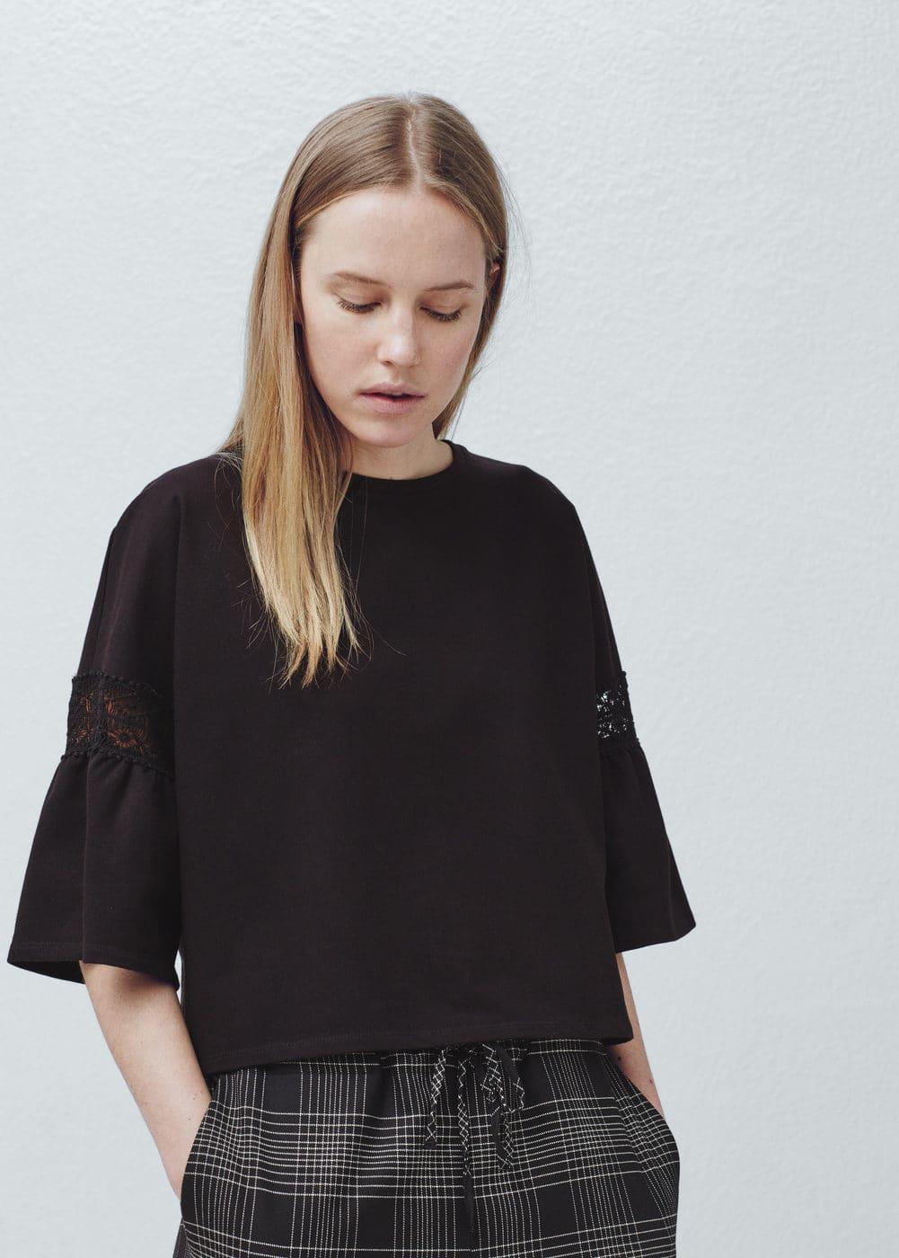 Short sleeve cotton sweatshirt   MANGO