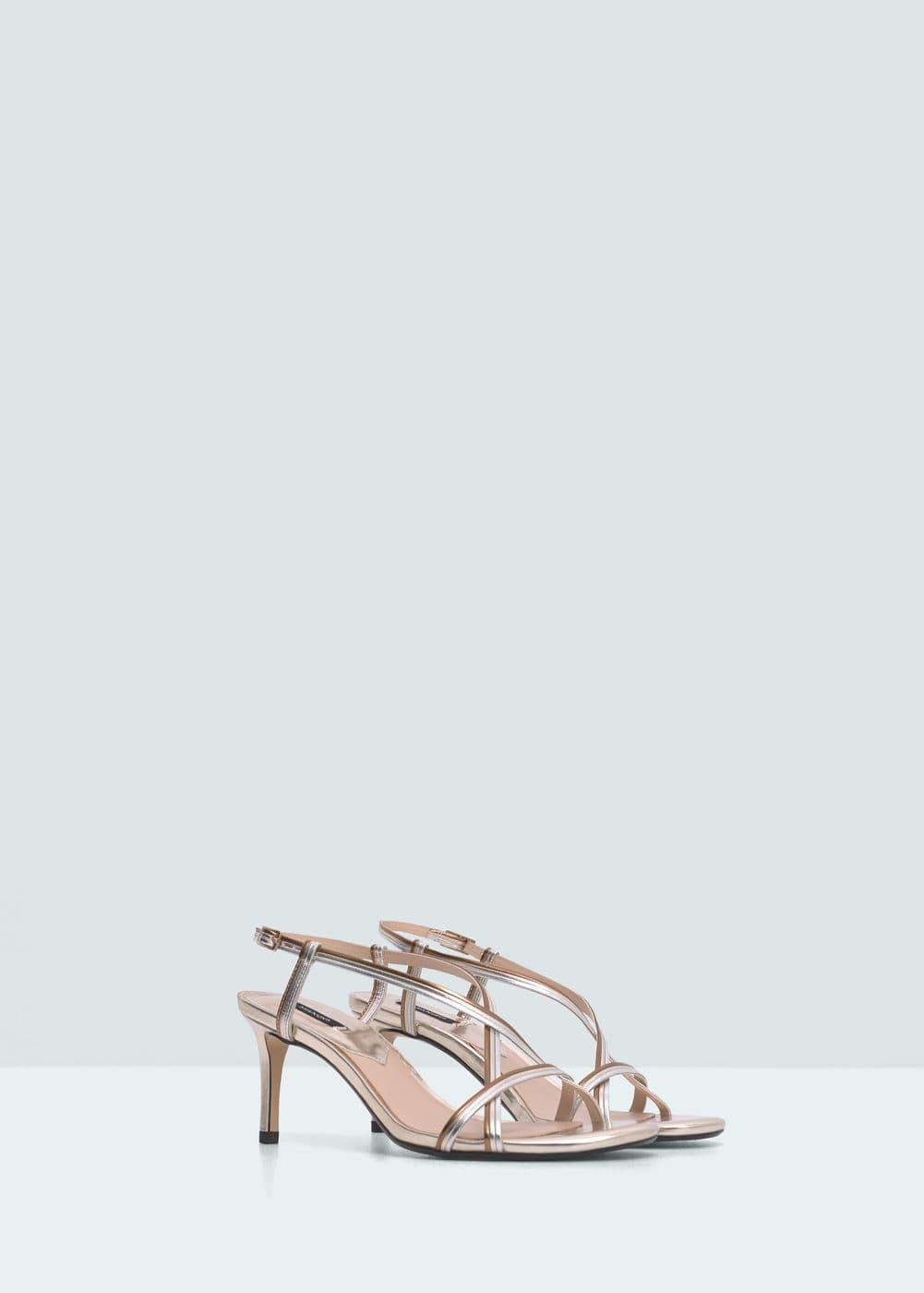 Metallic strap sandals | MANGO