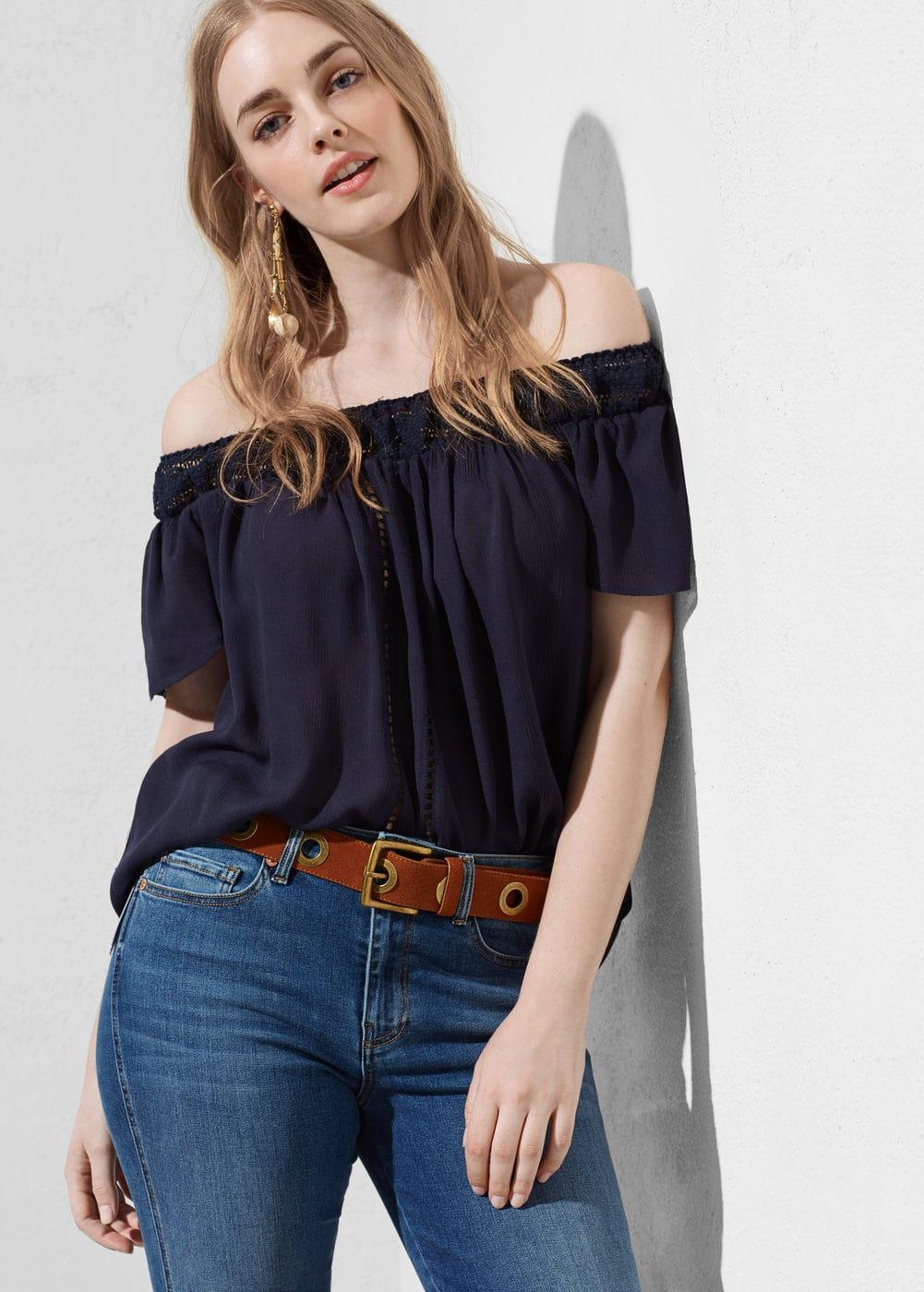 Off-shoulder blouse | VIOLETA BY MANGO