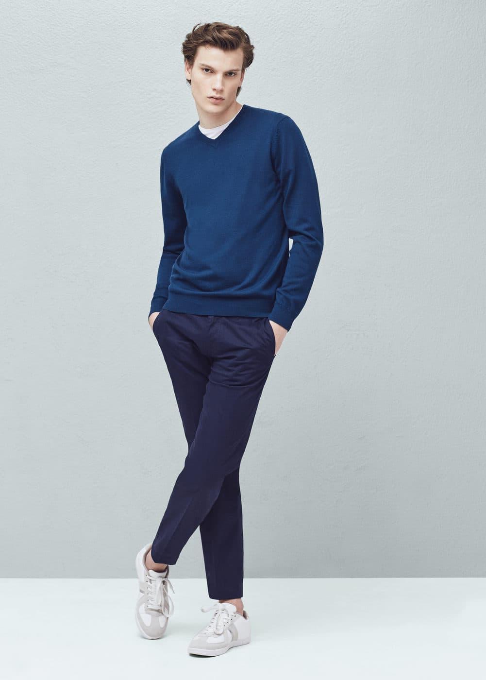 Wełniany sweter z dekoltem v | MANGO MAN