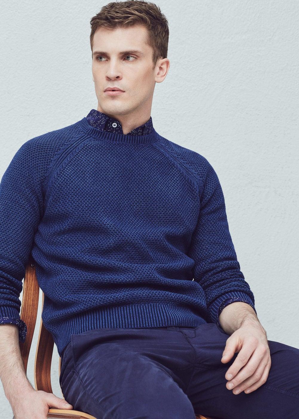Textured cotton wool-blend sweater | MANGO