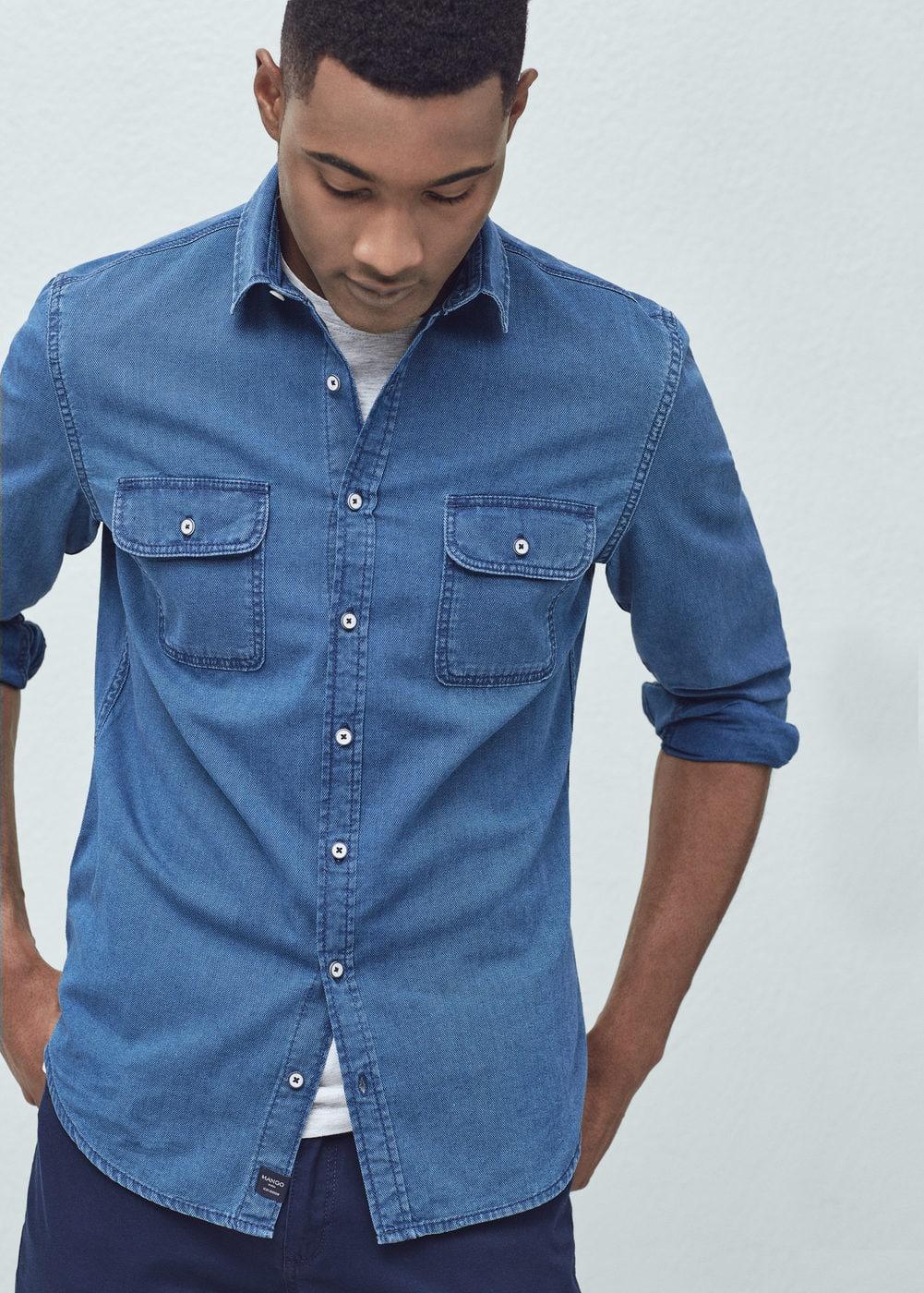 Slim-fit cotton chambray shirt   MANGO MAN