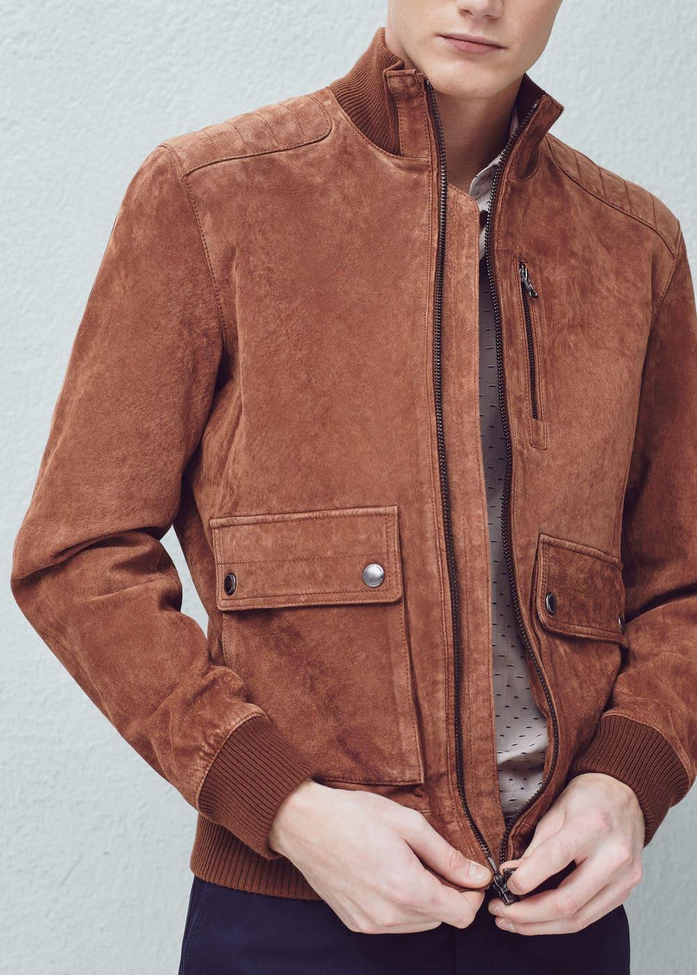 Flap-pocket suede jacket | MANGO