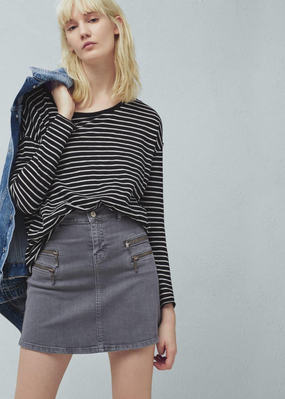 Zipped denim skirt | MANGO