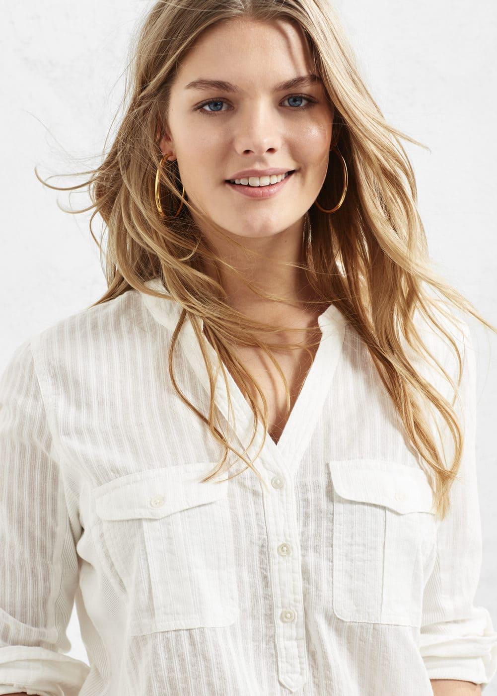 Striped cotton shirt | VIOLETA BY MANGO