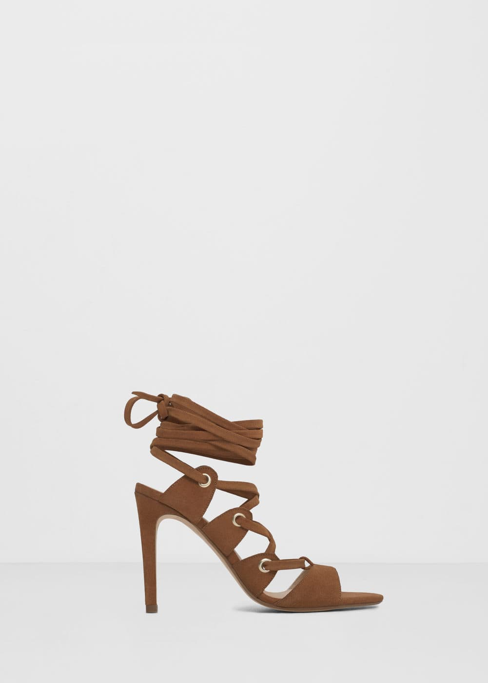 Lace-up leather sandals | MANGO