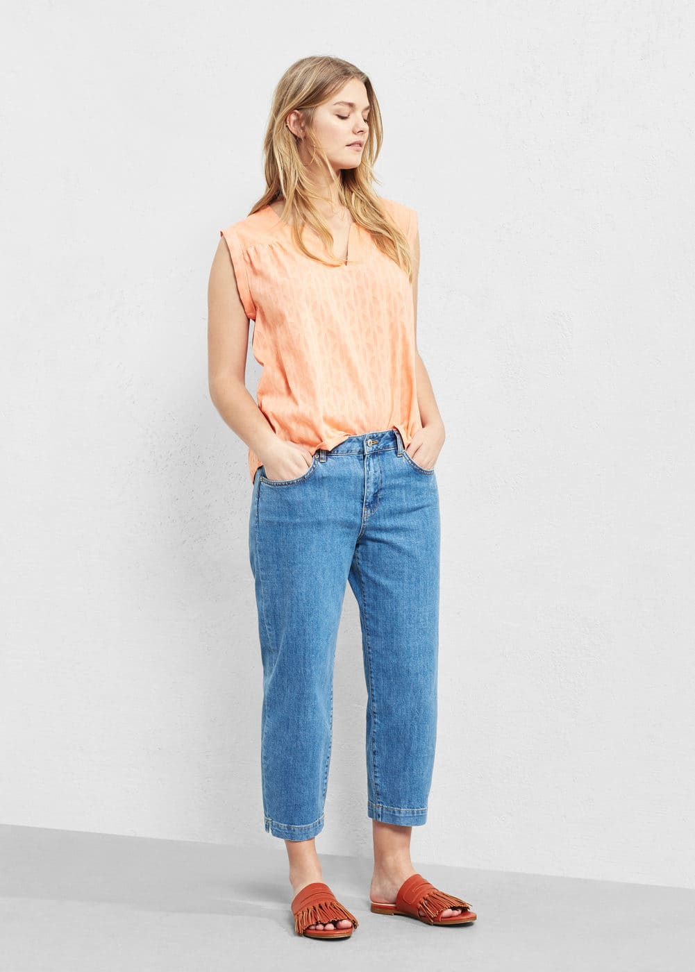 Textured cotton blouse | VIOLETA BY MANGO