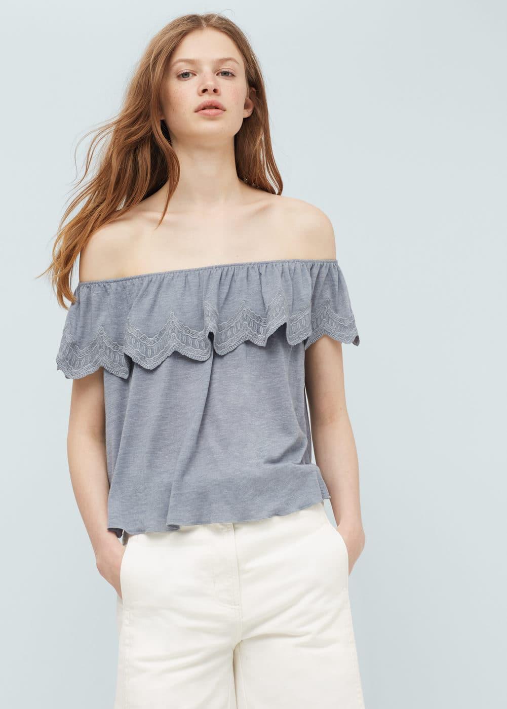 Off-shoulder top | MANGO