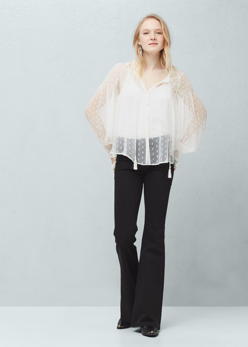 Sheer striped blouse | MANGO