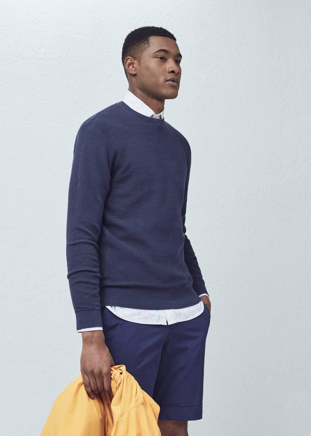 Ribbed cotton-blend sweater | MANGO MAN