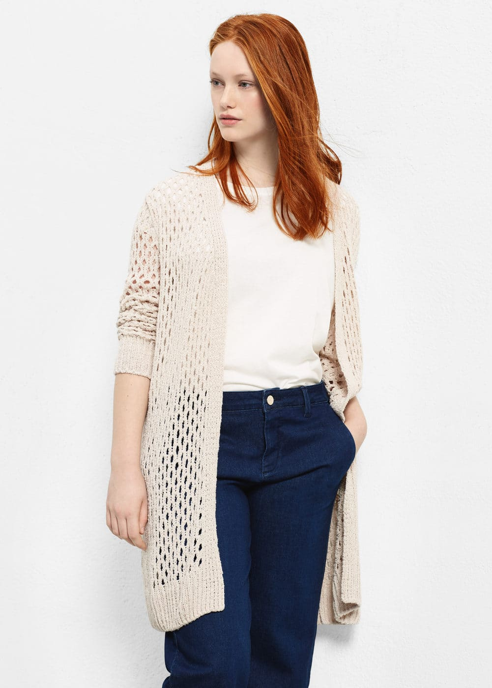 Openwork cotton cardigan | VIOLETA BY MANGO