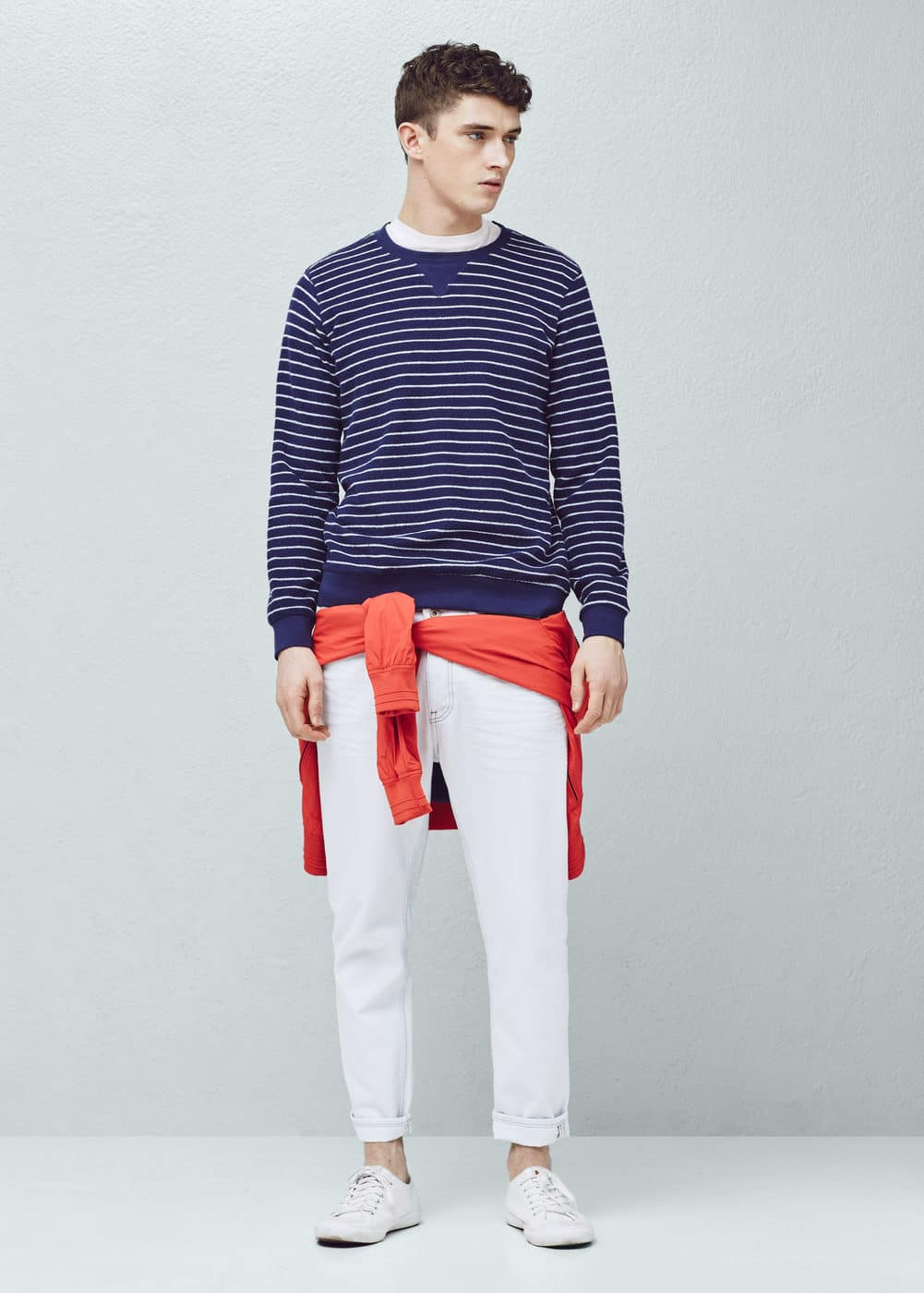 Striped cotton-blend sweatshirt | MANGO MAN