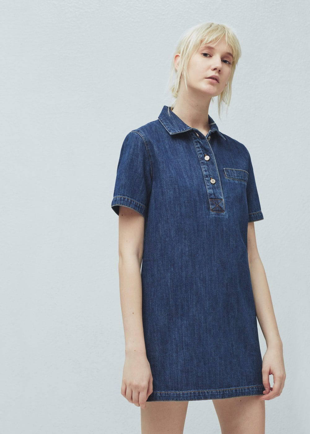 Denim shirt dress women mango usa for Robe jean mango