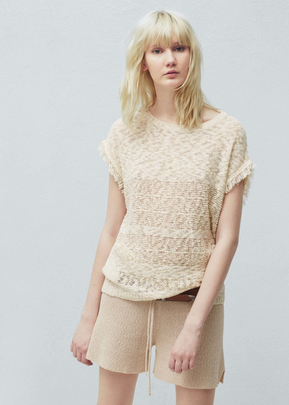 Fringed cotton sweater | MANGO