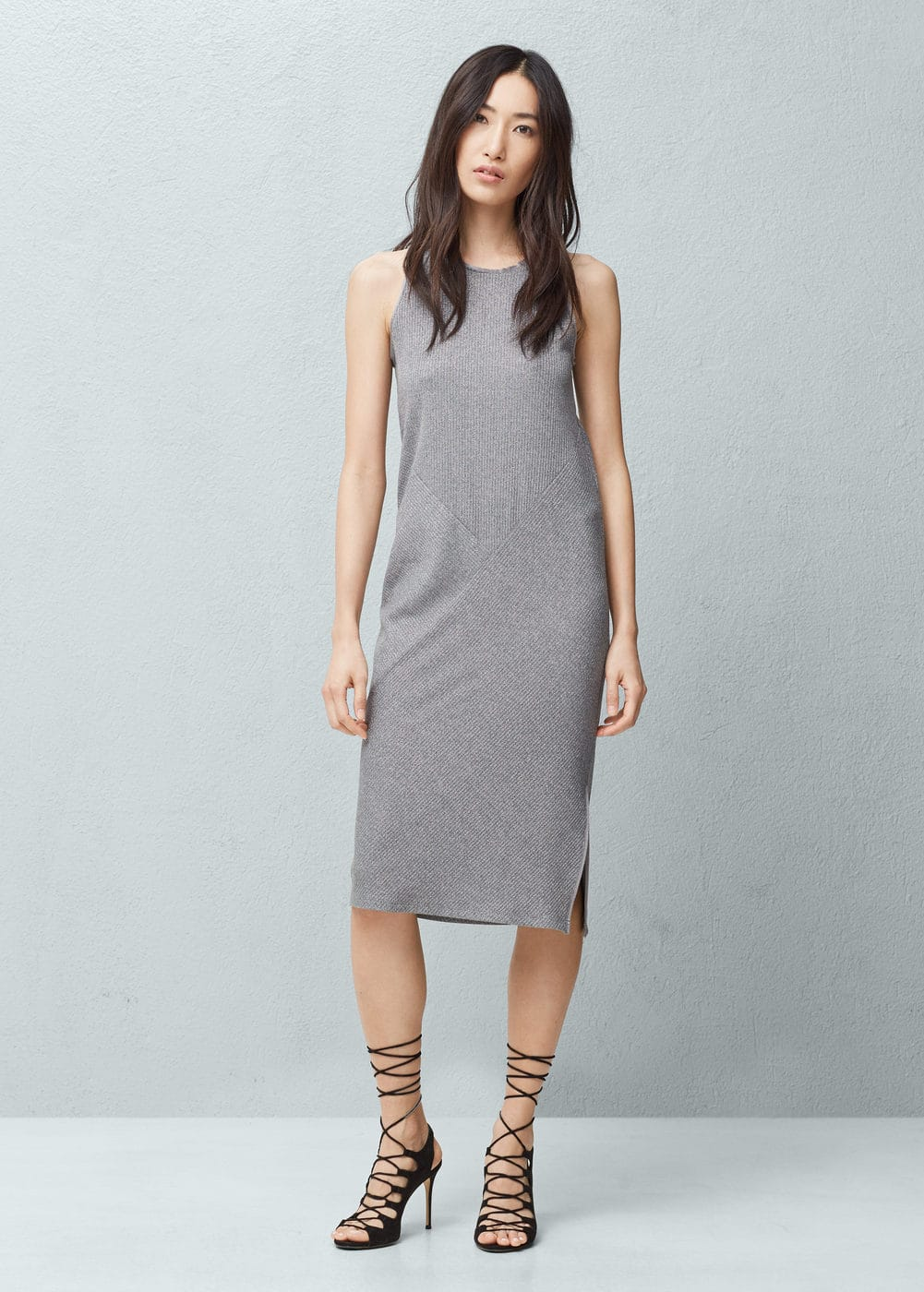 Metal ribbed dress | MANGO