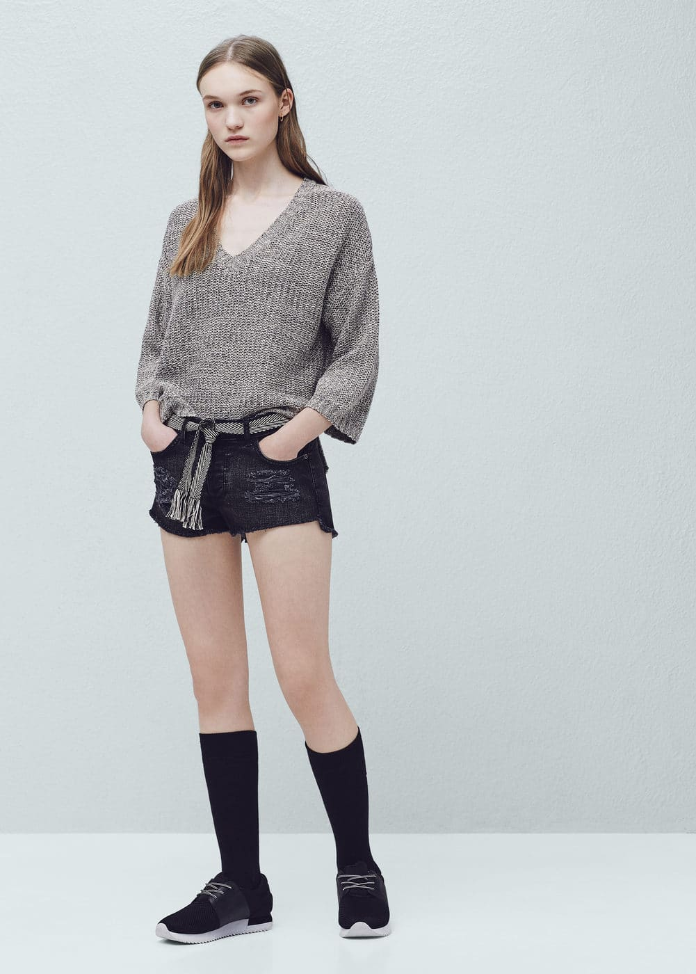 Black denim shorts | MANGO
