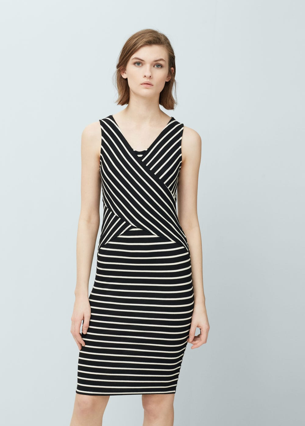 Printed ribbed dress | MANGO