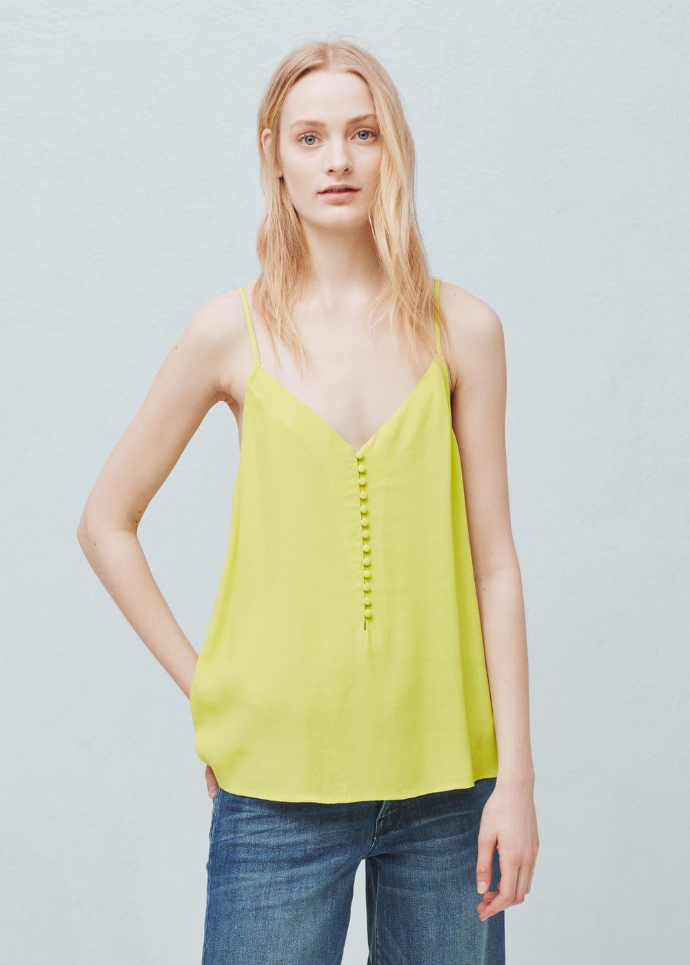 Buttoned flowy top | MANGO