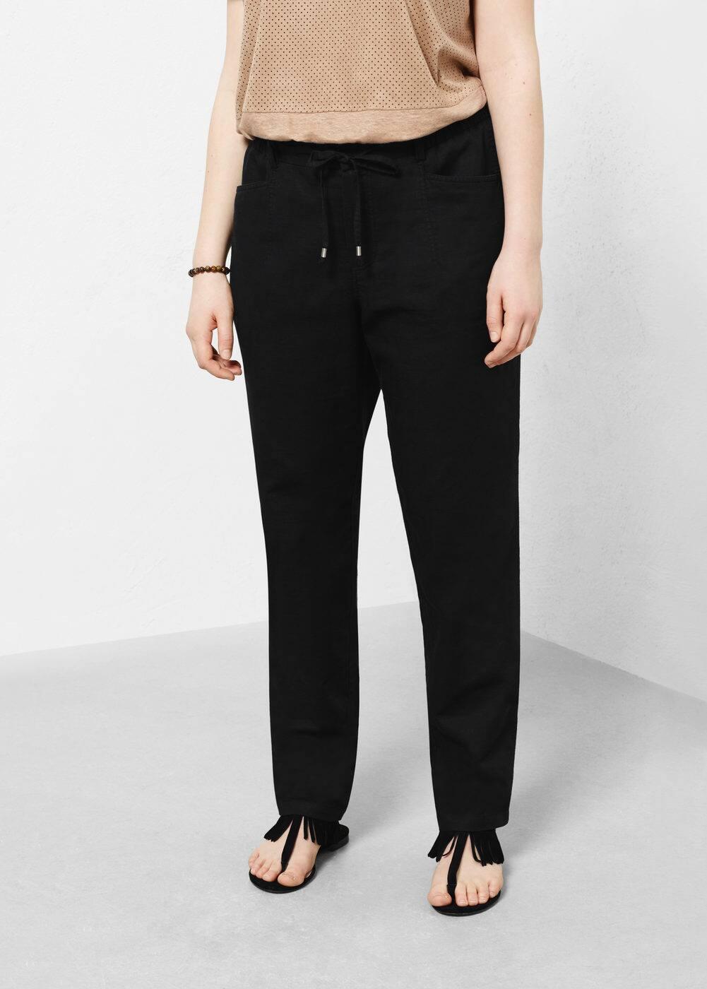 Cotton linen-blend trousers | VIOLETA BY MANGO