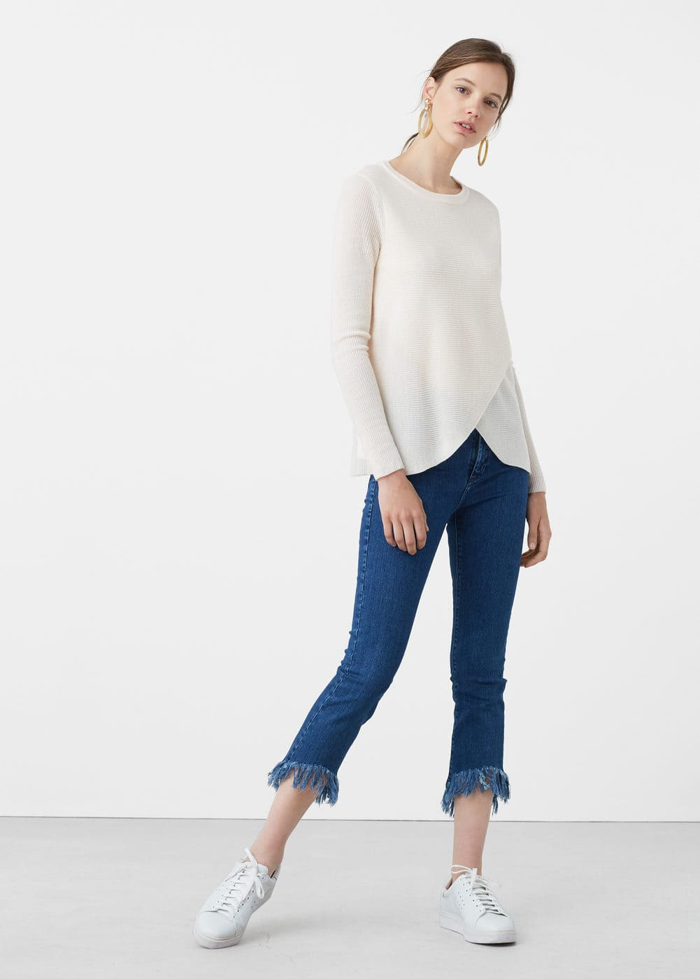 Skinny croppped fringed jeans | MANGO