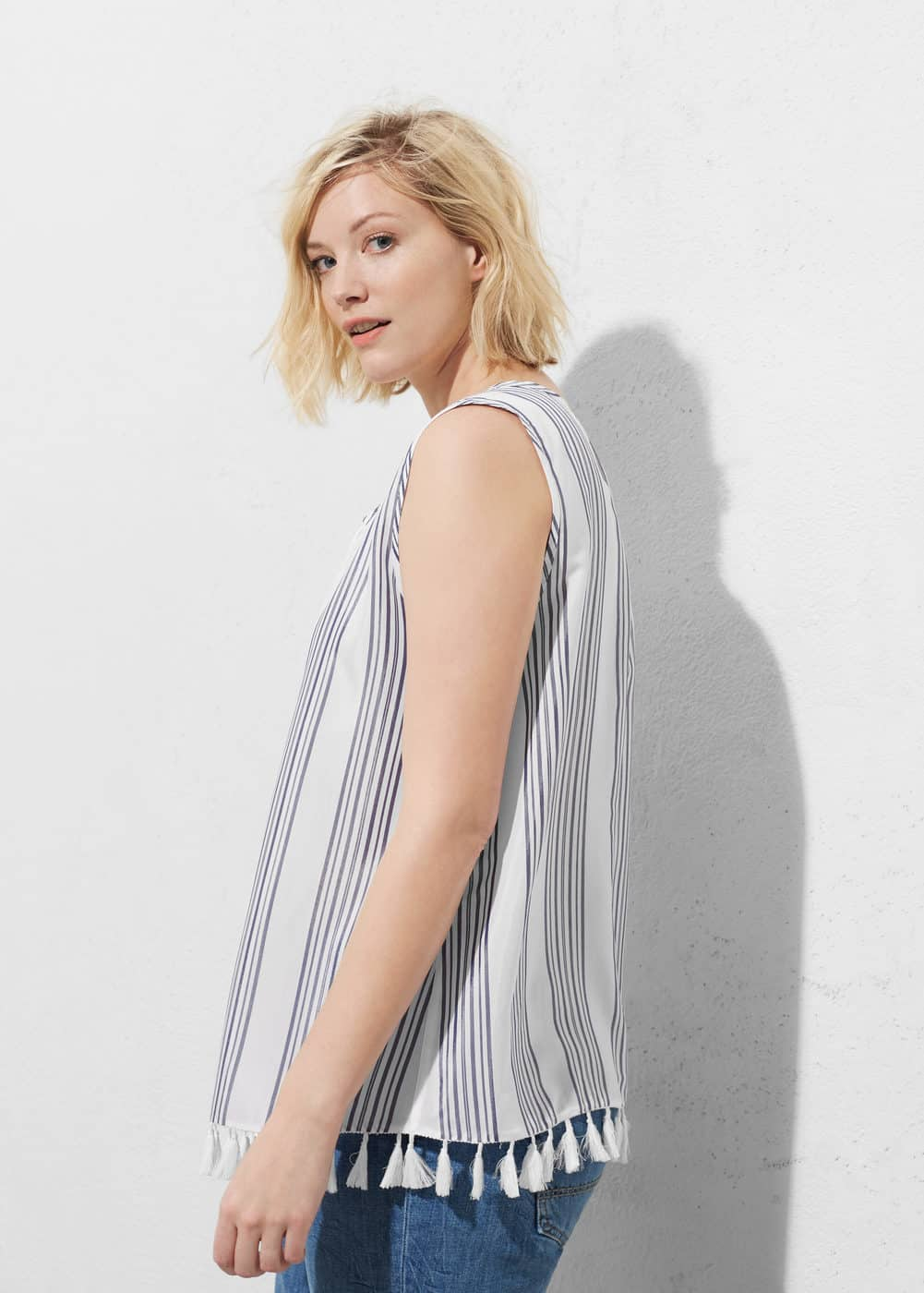 Fringed detail blouse | VIOLETA BY MANGO