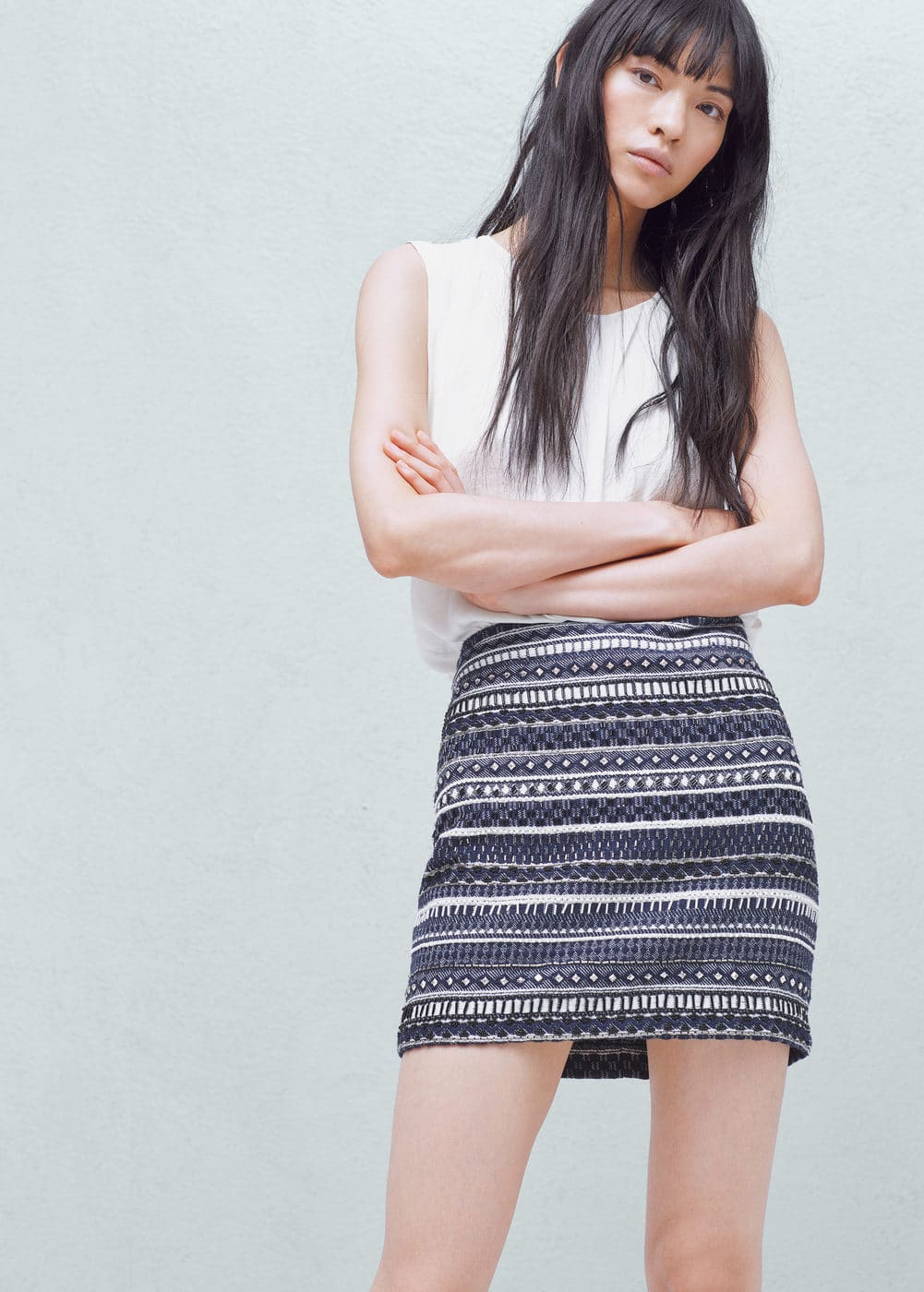Jacquard cotton skirt | MANGO