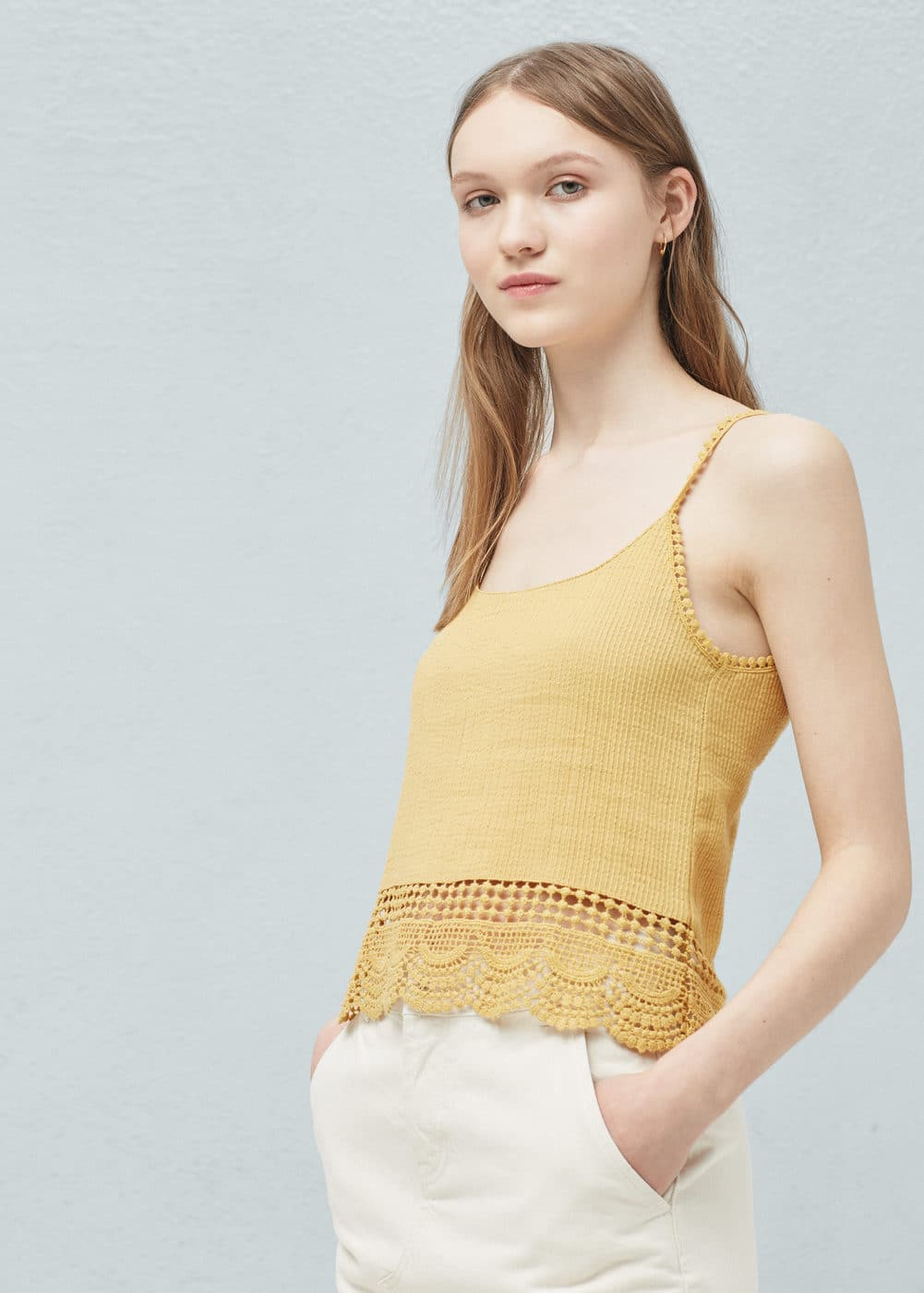 Crochet appliqué top | MANGO