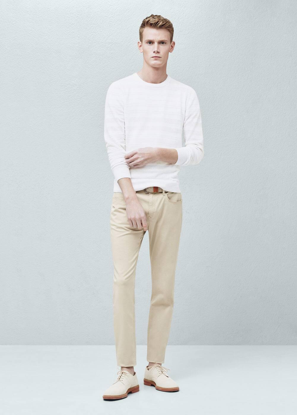 Spodnie slim-fit garment-dyed z 5 kieszeniami | MANGO MAN