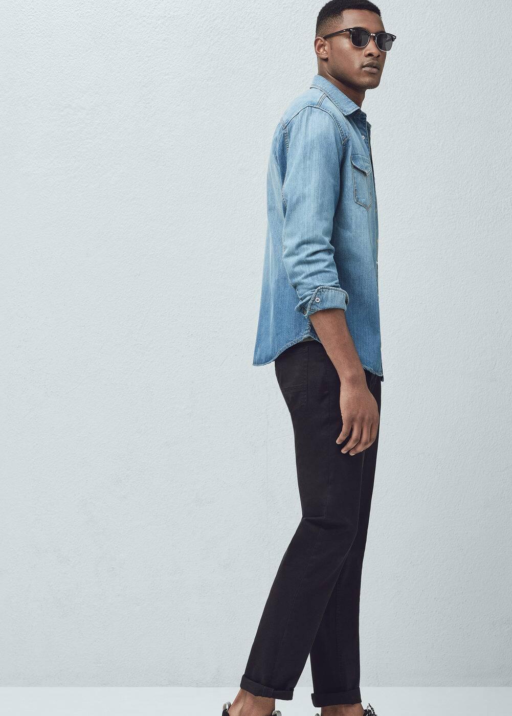 Slim-fit medium denim shirt | MANGO MAN