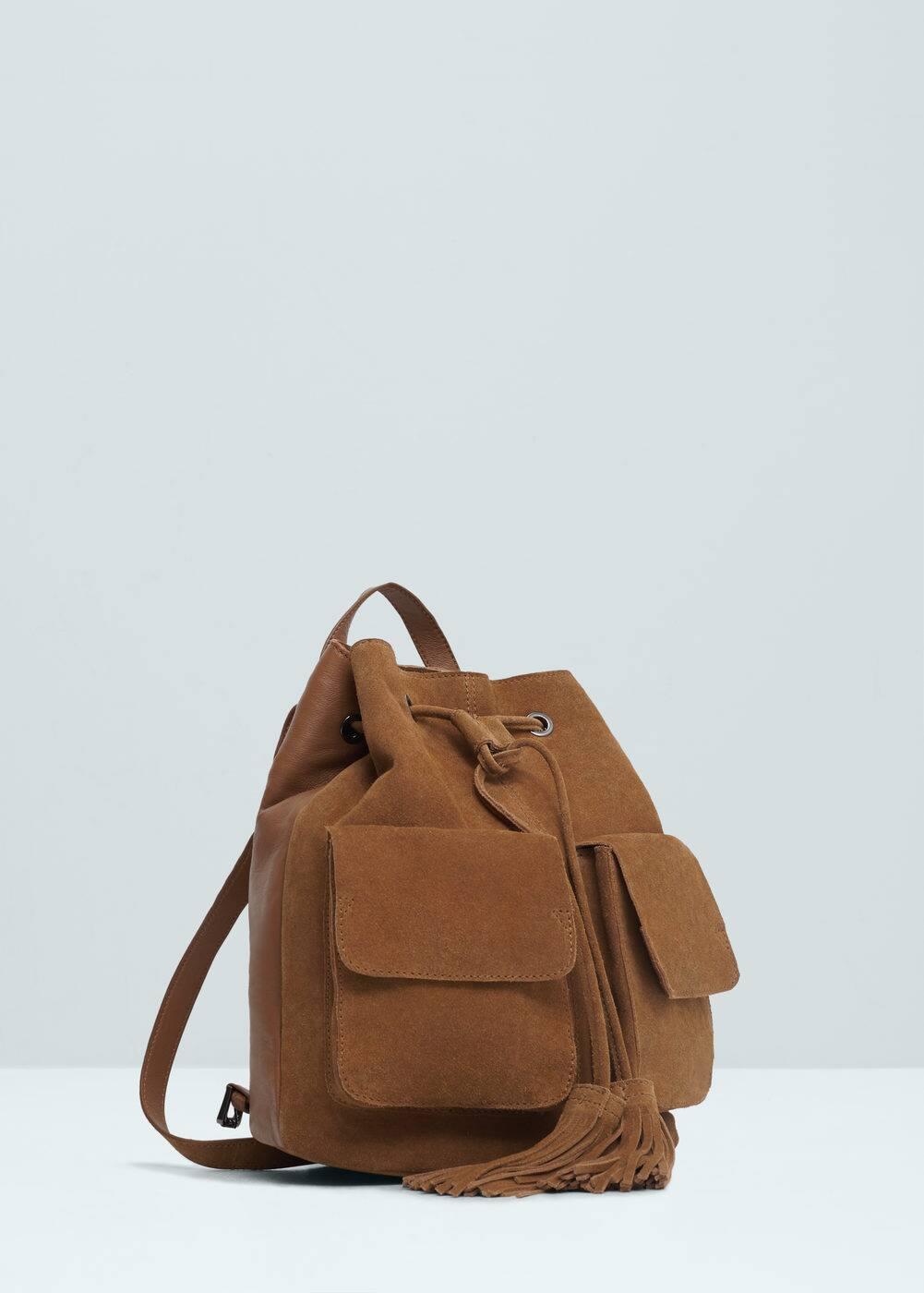 Pocket leather backpack | MANGO