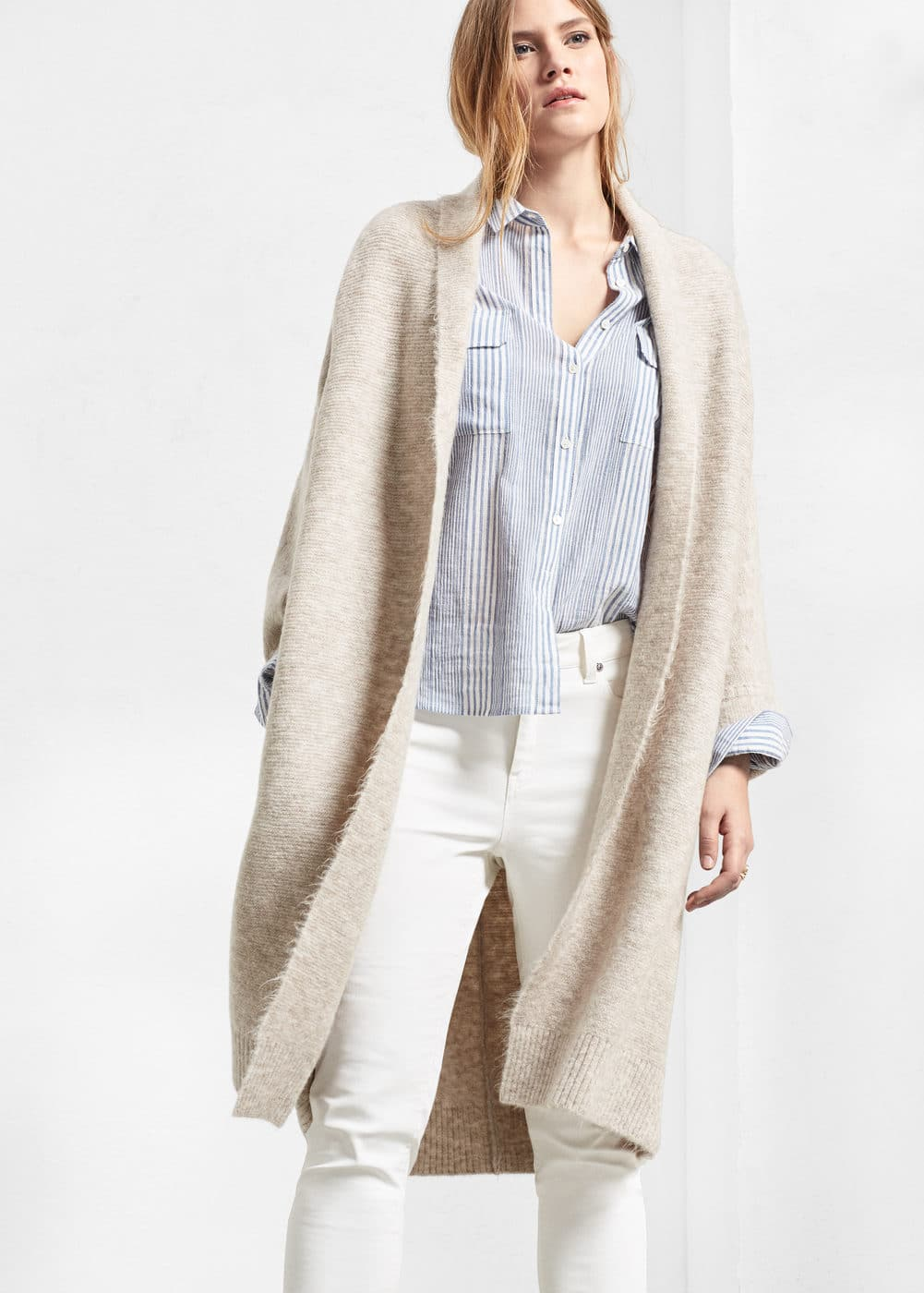 Lapel long cardigan | VIOLETA BY MANGO