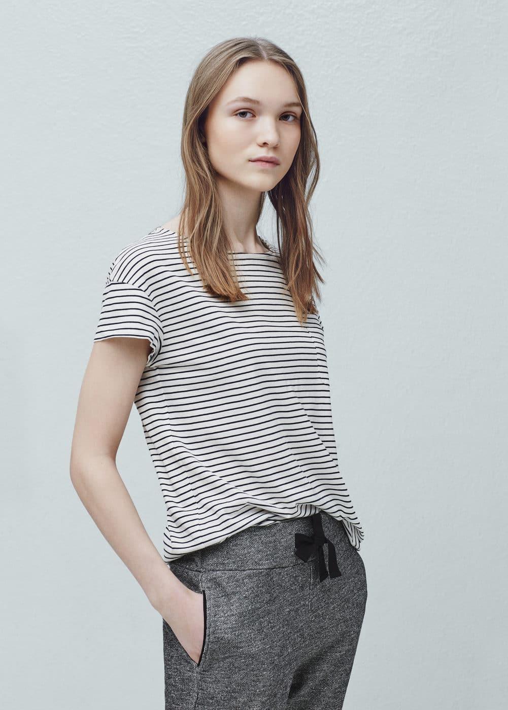 Striped cotton t-shirt | MANGO