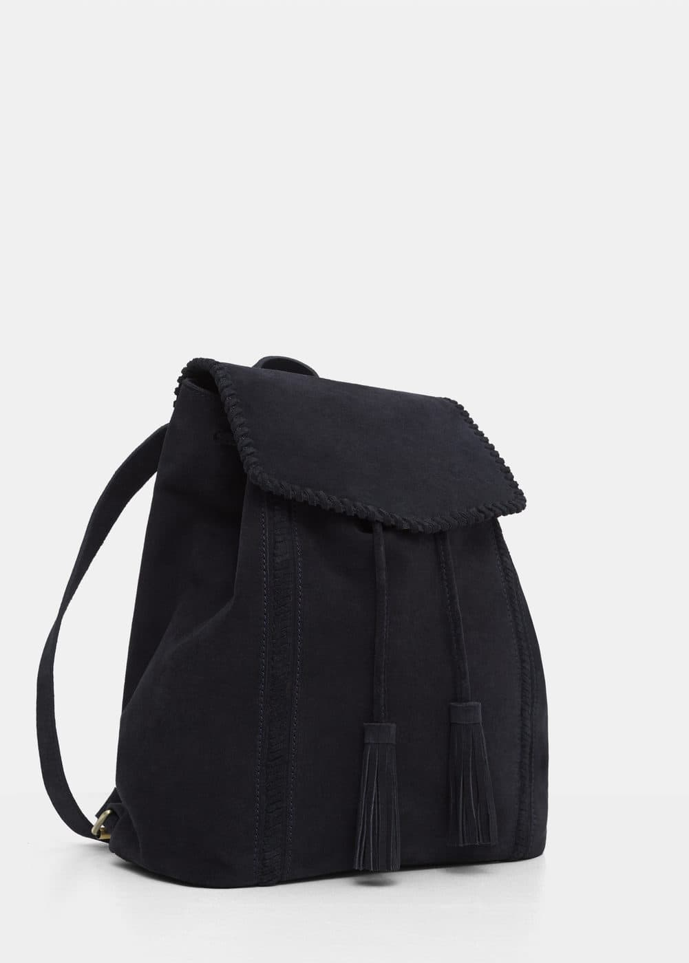 Lapel leather backpack | VIOLETA BY MANGO