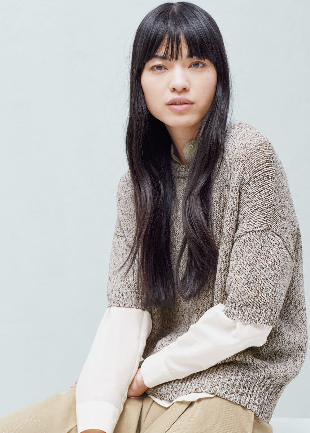 Short sleeve sweater | MANGO