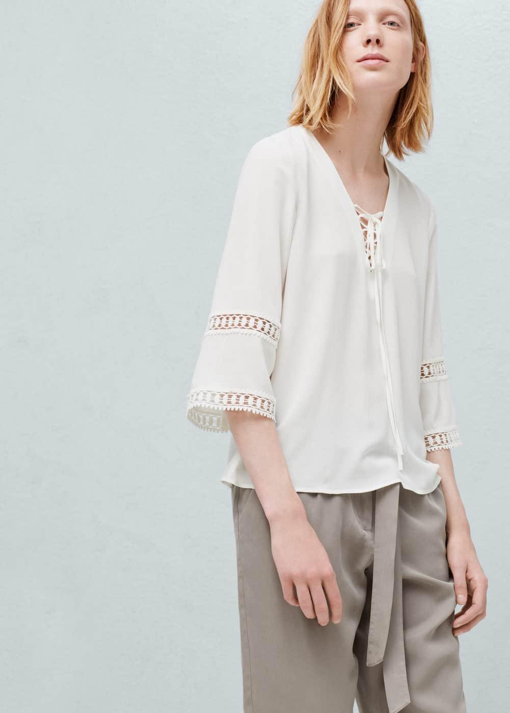Openwork trim blouse | MANGO