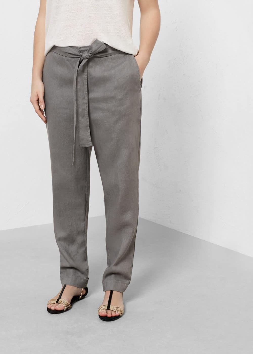 Pantalon baggy lin | VIOLETA BY MANGO