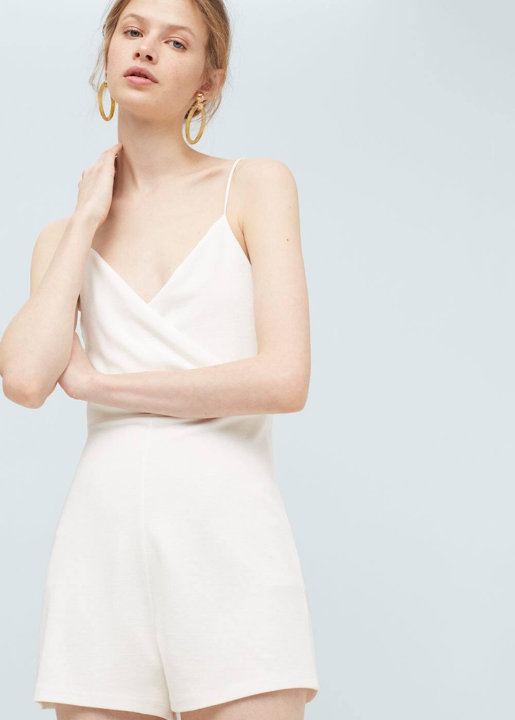 Wrap neckline jumpsuit | MANGO