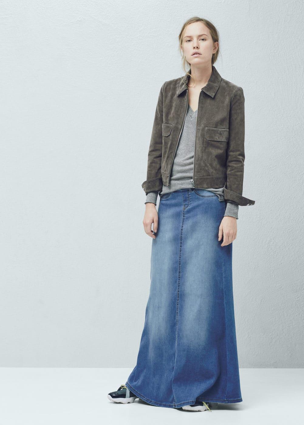 Denim long skirt   MANGO